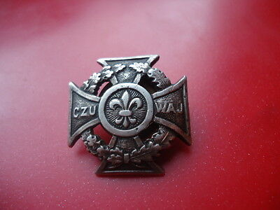 Silver Polish Scout badge Czuwaj Marked
