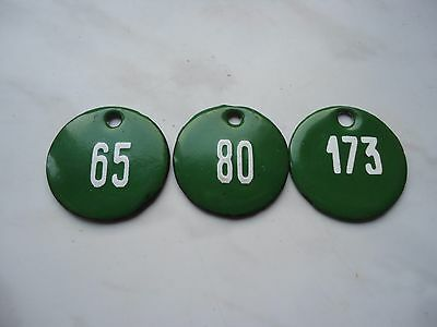 Old Vintage Door House green and white Porcelain Enamel Numbers 65, 80, 173