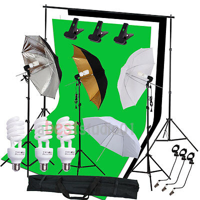 Studio Photography Kit 3 Light Bulb Umbrella 3 Backdrop Background Stand Kit Set