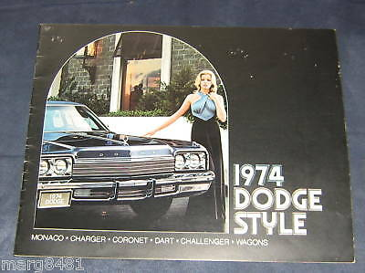 "'74 Dodge Styles Sales Brochure, 40 pgs, 8"" X 10"" wide 13 large car pictures"
