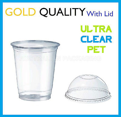 500 8oz CLEAR PLASTIC CUPS WITH DOME LIDS SMOOTHIE DISPOSABLE CUP 225mL