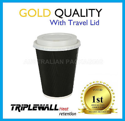 100 SET 16oz COFFEE CUPS TRIPLE WALL + LID DISPOSABLE PAPER CUP TAKE AWAY BLACK