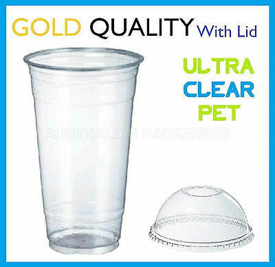100 24oz CLEAR PLASTIC CUPS WITH DOME LIDS SMOOTHIE DISPOSABLE CUP 700mL