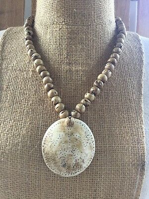 Naga Old Vintage Conch Shell Bead Pendant Necklace
