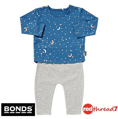 Bonds New Baby Boy Boys Long Pyjamas Pjs Sleepwear Blue Set Size 00 0 Denim Grey