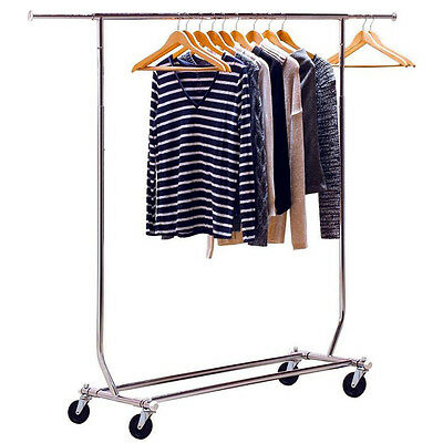Single Pole Adjustable Portable Clothes Display Hanger Rolling Rack With Wheels