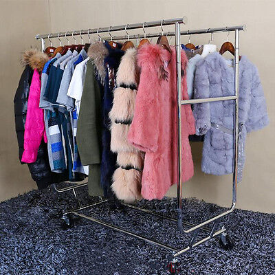 Double Pole Adjustable Portable Clothes Display Hanger Rolling Rack With Wheels
