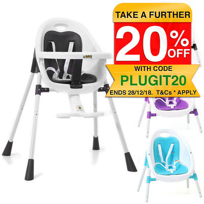 Vee Bee POP2 3in1 Portable Baby Low and High Chair Feeding Kids Toddler/Harness