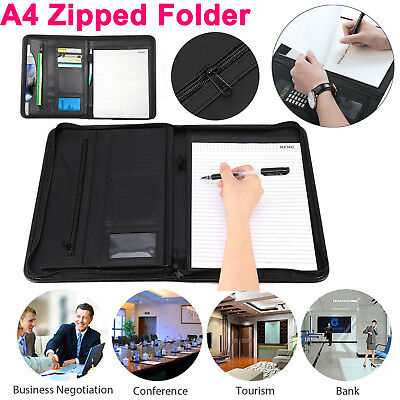 A4 Zipped Executive Conference Folder PU Leather Organiser Portfolio Case Black