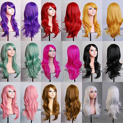 Women Long Hair Full Wig Sexy Wigs Curly Wavy Synthetic Anime Cosplay Party