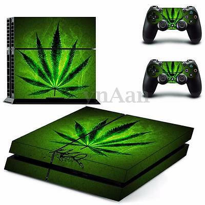 Weed Decal Skin Sticker Body Cover For PS4 Playstation 4 Console +2 Controller