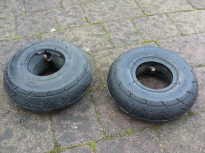 2x 3.50-4 (ALSO SUITABLE FOR 3.00-4 AND 260 X 85 ) SCOOTER TYRES WITH TUBES