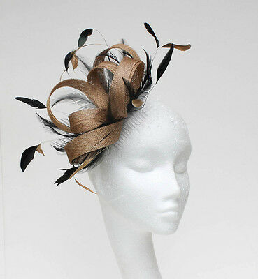 Metallic Gold/Black Fascinator Hat for Weddings/Ascot/Proms With Headband T3
