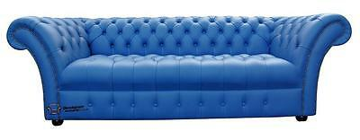 Chesterfield Balmoral 3 Seater Buttoned Seat Marine Blue Leather Sofa Settee