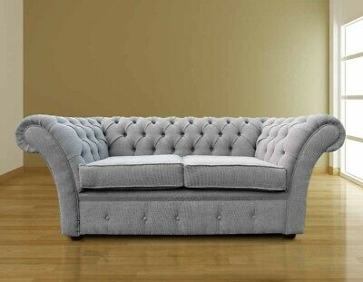 Chesterfield Balmoral 2 Seater Verity Silver Grey Fabric Sofa Settee