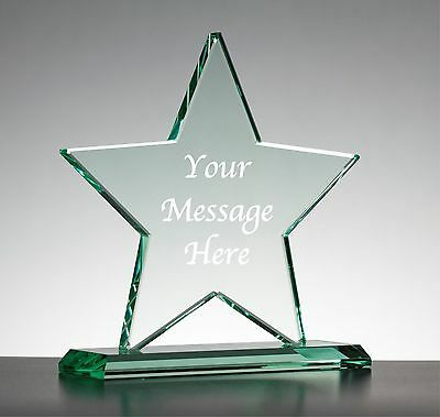 Personalised Engraved Glass Star - Employee Of The Year Award Trophy On Base