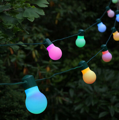 Smart Solar 20 LED Colour Changing Party Festoon String Fairy Garden Lights