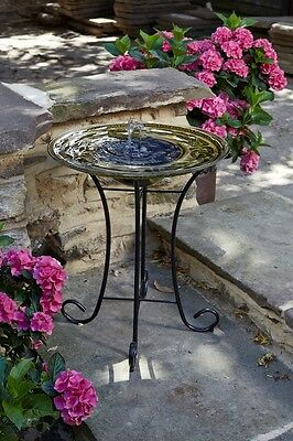 Smart Solar powered Celtic Spring Birdbath Water Feature Fountain self contained