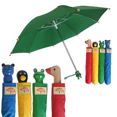 KIDS Animal Folding Umbrella Red Duck Yellow Penguin Green Frog OR Blue Bear