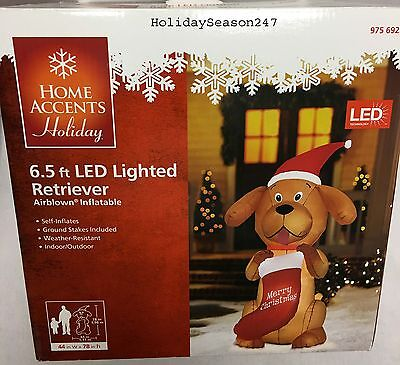 Airblown Inflatable Holiday Christmas 6.5Ft LED Lighted Golden Retriever Dog