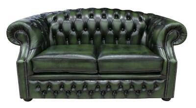 Chesterfield Buckingham 2 Seater Antique Green Leather Sofa Settee