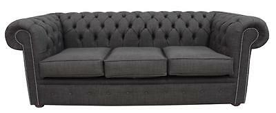 Chesterfield 3 Seater Charles Linen Charcoal Grey Sofa Settee