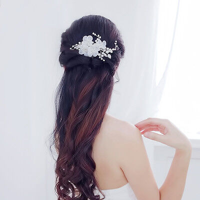Bridal Wedding Hair Comb Pearl Crystal Diamante Clip Silk Flower Accessory Cream