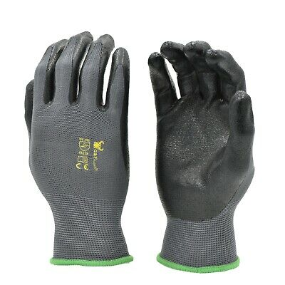 G & F 15196 Seamless Knit Nitrile Form Coated Work Gloves, Black, 6 Pair Pack