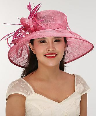 Church Kentucky Derby Carriage Wedding Tea Party Wide brim Sinamay Hat Hot Pink