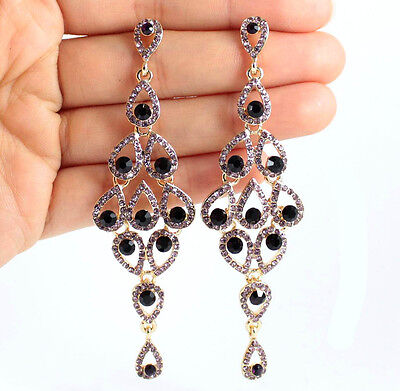 Drops Austrian Crystal Rhinestone Purple Chandelier Dangle Earrings  E2088P