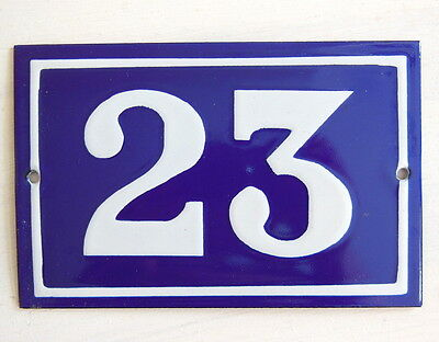 OLD FRENCH HOUSE NUMBER SIGN door gate PLATE PLAQUE Enamel steel metal 23 Blue