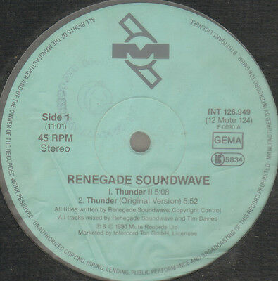 Renegade Soundwave - Thunder II - 1990 - 12 MUTE 124 - Ger