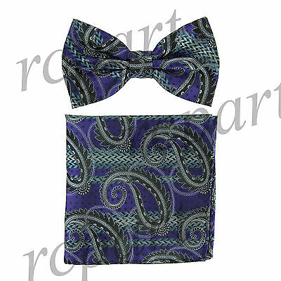 Men's Pre-tied Bow Tie & hankie set paisley purple black gray wedding party prom