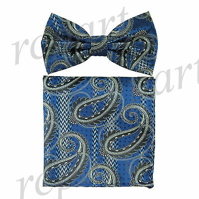 Men's Pre-tied Bow Tie & hankie set paisley blue black gray wedding party prom
