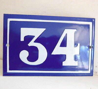OLD FRENCH HOUSE NUMBER SIGN door gate PLATE PLAQUE Enamel steel metal 34 Blue • CAD $45.99