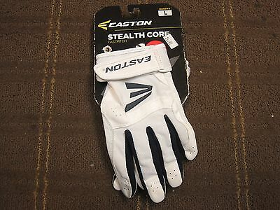 Easton Women's Stealth Core Fastpitch Softball Batting Gloves - White/Navy - RB3