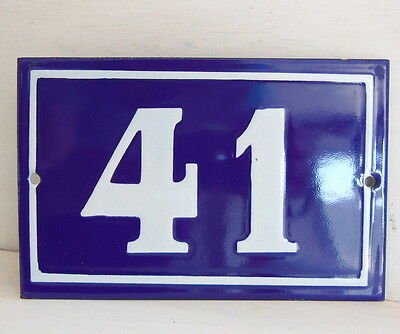 OLD FRENCH HOUSE NUMBER SIGN door gate PLATE PLAQUE Enamel steel metal 41 Blue