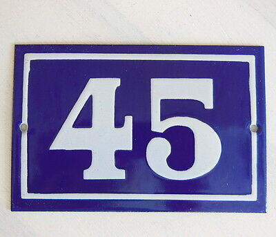 OLD FRENCH HOUSE NUMBER SIGN door gate PLATE PLAQUE Enamel steel metal 45 Blue