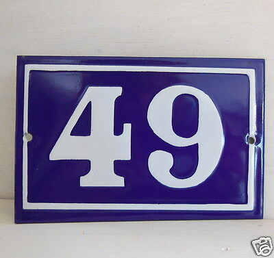 OLD FRENCH HOUSE NUMBER SIGN door gate PLATE PLAQUE Enamel steel metal 49 Blue