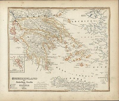 Greece Candia Ionian islands c.1850 Meyer scarce detailed antique map