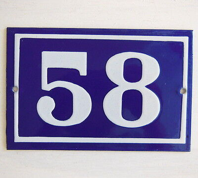 OLD FRENCH HOUSE NUMBER SIGN door gate PLATE PLAQUE Enamel steel metal 58 Blue