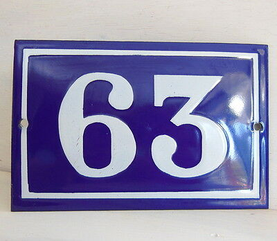 OLD FRENCH HOUSE NUMBER SIGN door gate PLATE PLAQUE Enamel steel metal 63 Blue