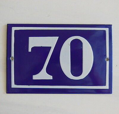 OLD FRENCH HOUSE NUMBER SIGN door gate PLATE PLAQUE Enamel steel metal 70 Blue