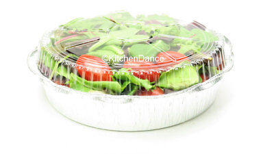 """9"""" Round Disposable Aluminum Carryout Pans with Plastic Dome Lids - Case of 500"""