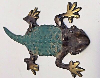 Pure Bronze Lizard Horny Toad Statue Figurines