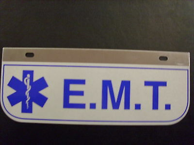 E.m.t.  Decal Plate With Star Of Left Reflective With Hole On Top