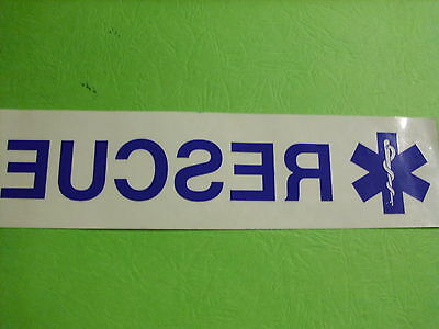 "8"" Rescue With Star Of Life Clear Background Inside Window  Decal"