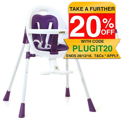 Vee Bee POP2 Purple 3in1 Portable Baby High Chair Feeding Kids Toddler 6m+ 14kg