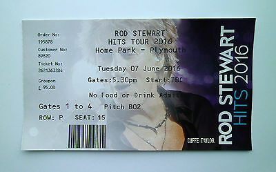 ROD STEWART MEMORABILIA -Ticket Stub(s) Home Park - Plymouth Argyle FC 07/06/16