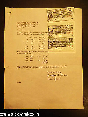 New York Central Railroad Co. Interest Coupons and Letter of Transmittal 1978